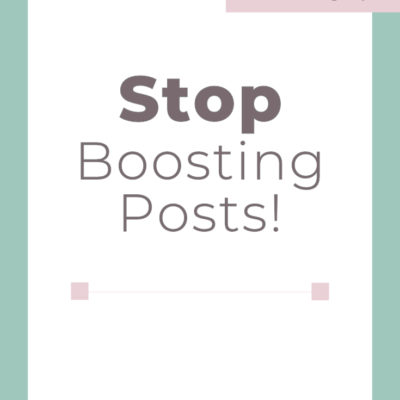 Stop Boosting Posts